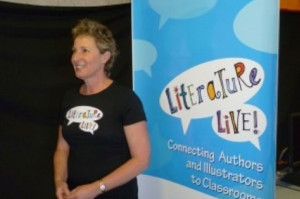 Jeni Mawter presenting workshops with Literature Live!